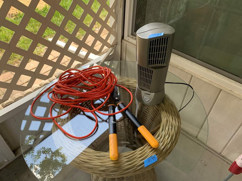 Lot # 151 Heavy duty electrical cord, Lasko fan, trimmers