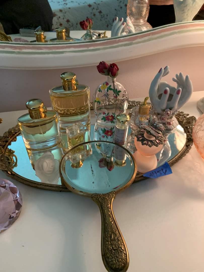 Lot # 156 Mirrored tray with various perfumes, knickknacks