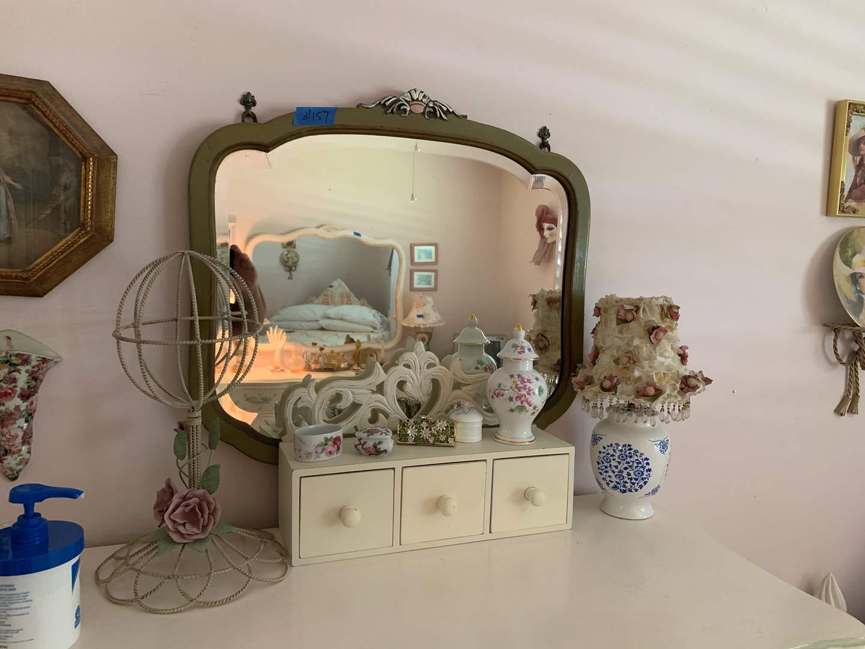 Lot # 157 vintage wall mirror, lamp, various rose ceramic/porcelain items