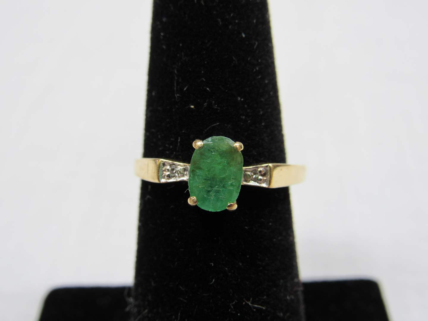 Lot # 107  Real emerald and diamond petite 14K gold ring 1.56 grams size 6 (main image)