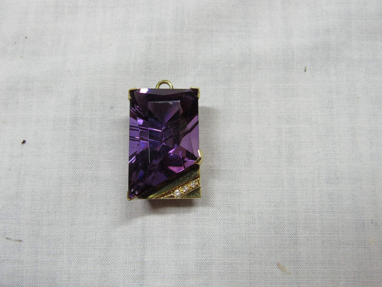 Lot # 110  Great 14K gold amethyst & diamond pendant 10.8 grams (main image)