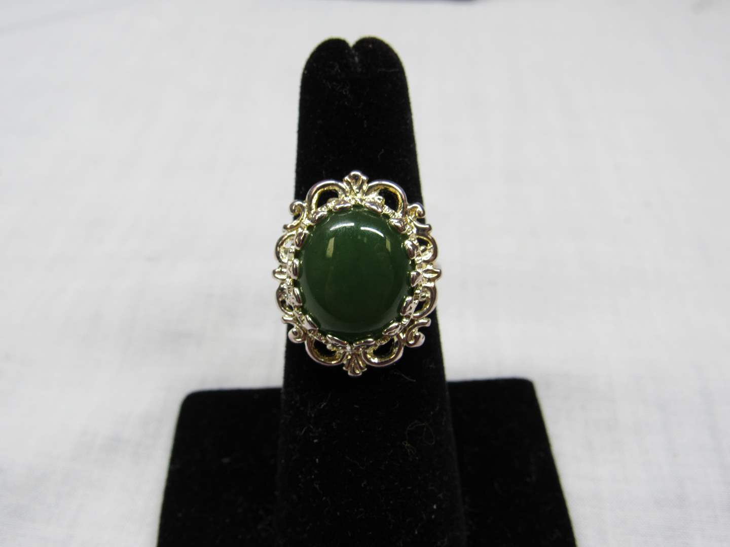 Lot # 114  Stylish sterling silver & green stone ring size 6 (main image)