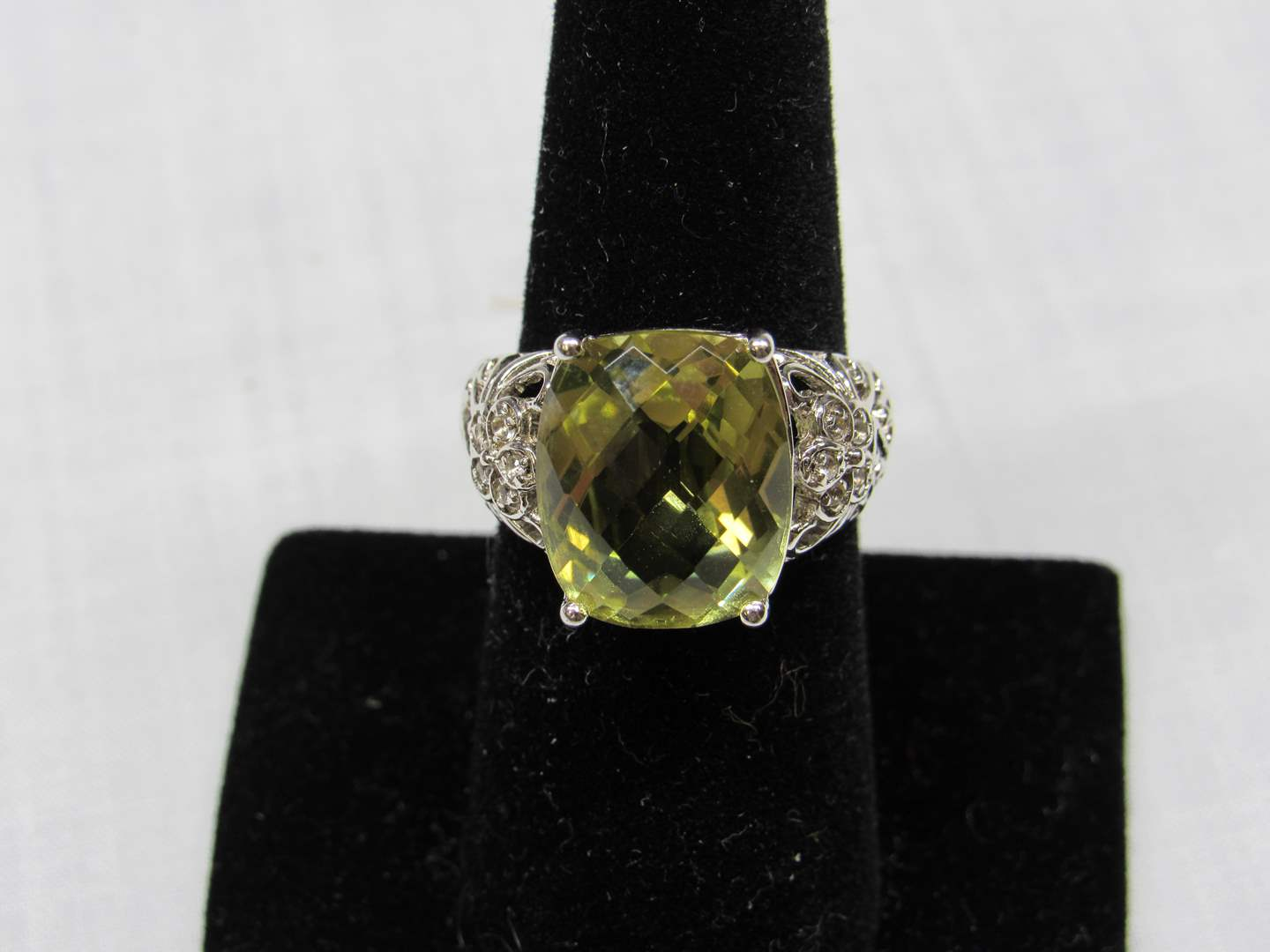 Lot # 115  Sterling silver & citrine? tone & crystals ring size 7 (main image)