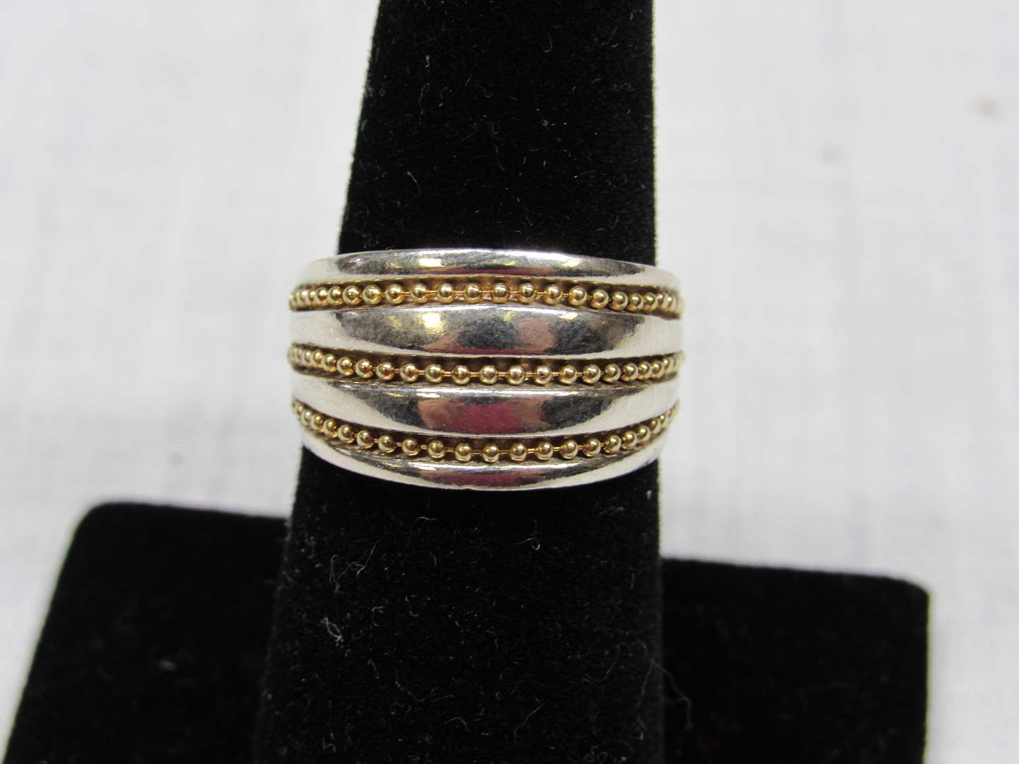 Lot # 116  Sterling silver & 10K gold overlay ring size 7 (main image)