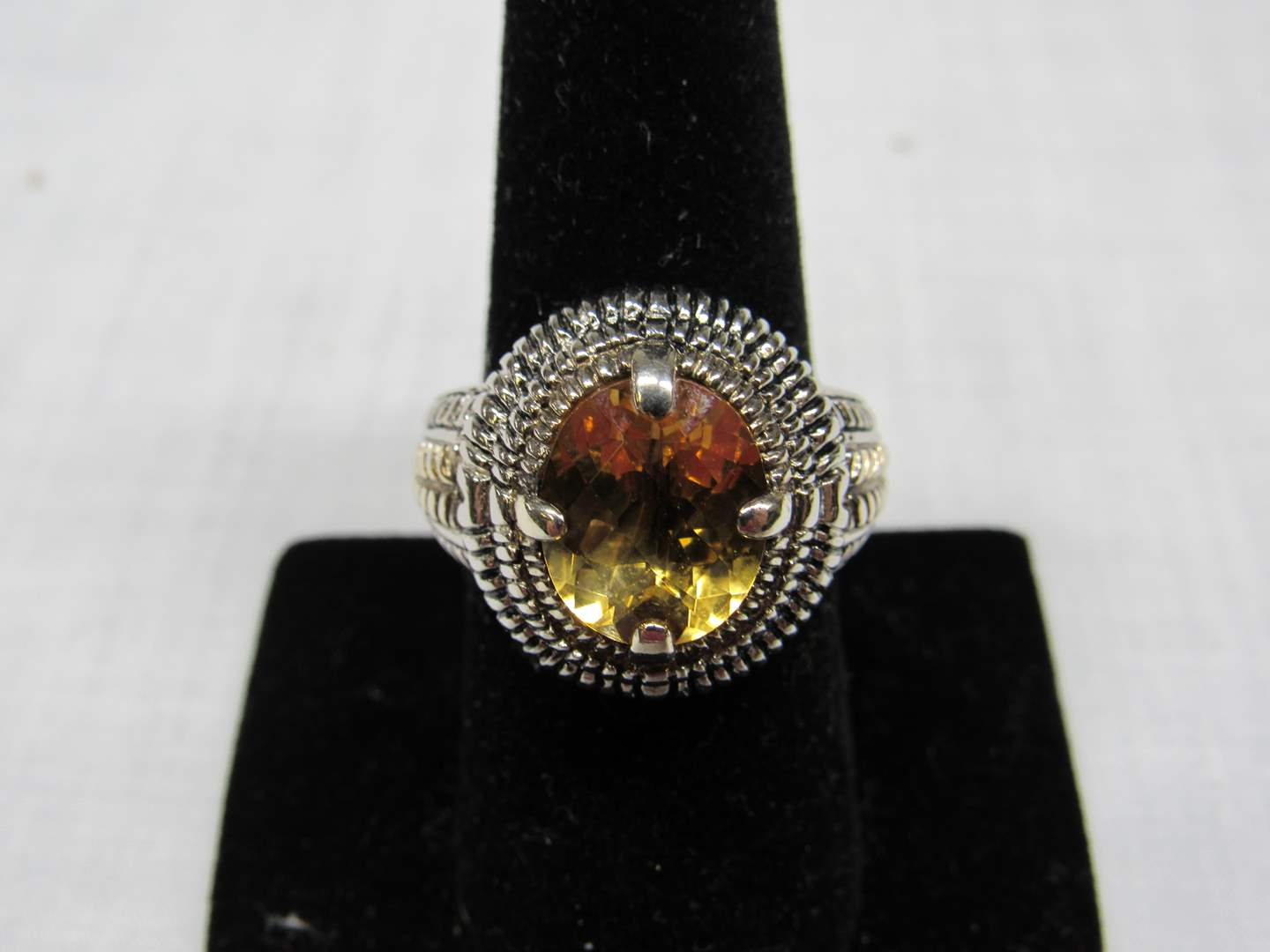 Lot # 118 Large & Heavy sterling silver & 14K signed ring size 8 (check the pictures WELL made ring) (main image)