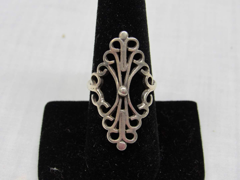 Lot # 119  Sterling filigree ring size 8 ring (main image)