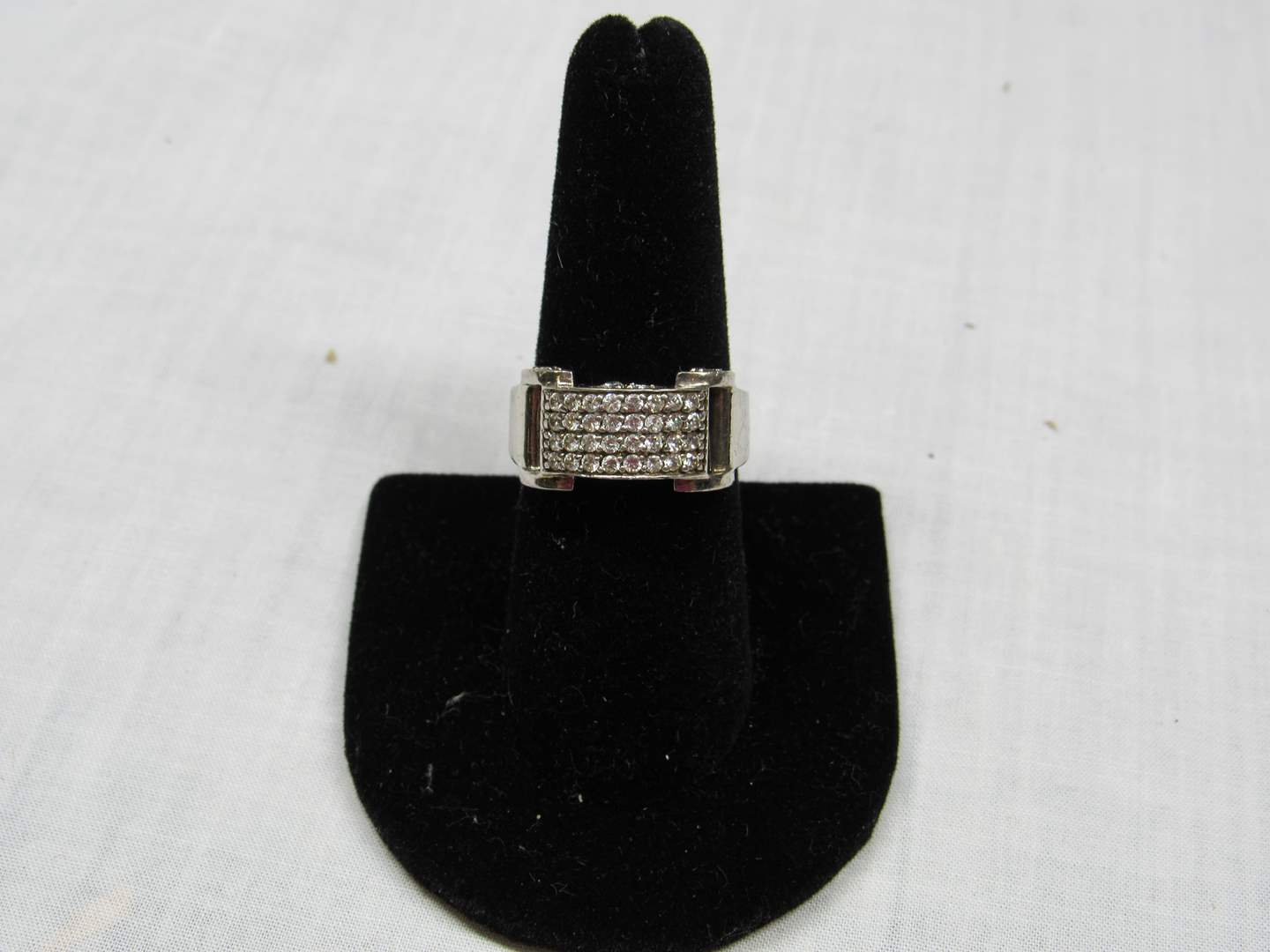 Lot # 120  Sterling silver & crystal (belt buckle style) size 8 ring (main image)