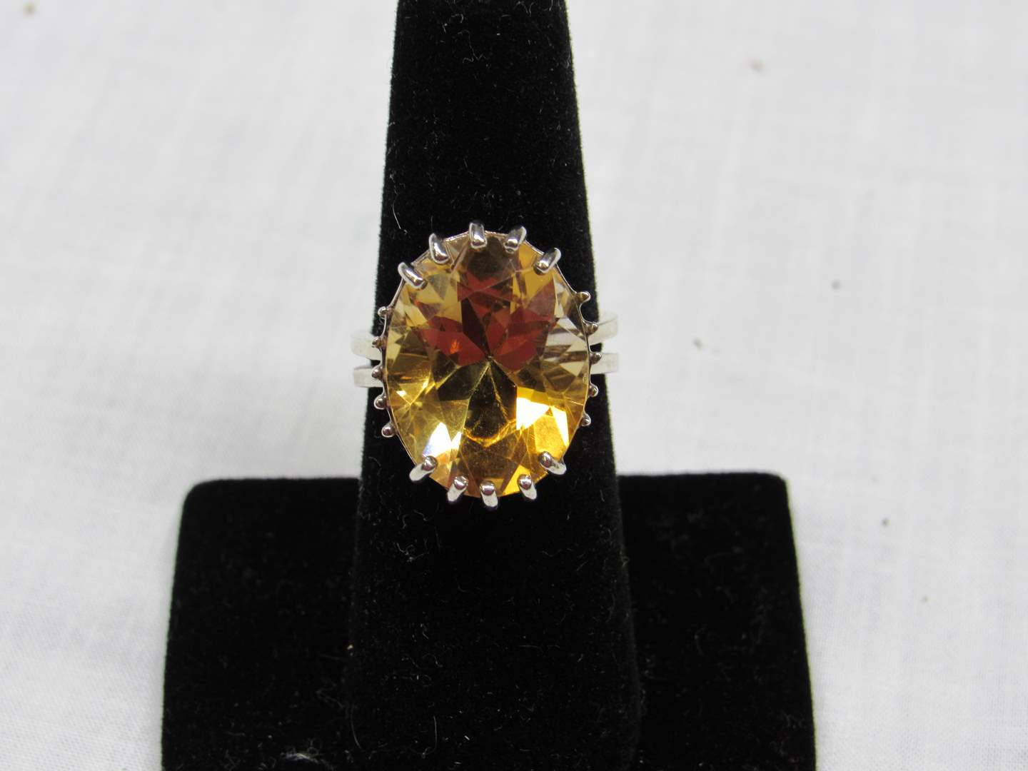 Lot # 122  Sterling Silver w/yellow Citrine? stone size 7 ring (main image)
