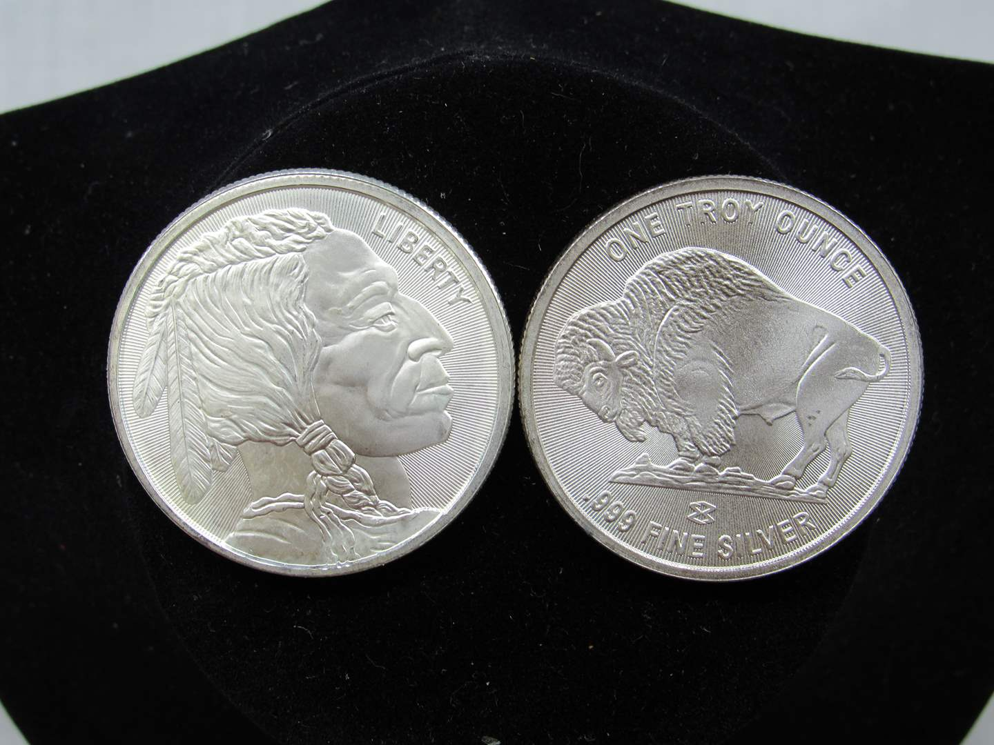 Lot # 132  TWO Indian & Buffalo one Troy Ounce each silver rounds .999 BU condition (main image)