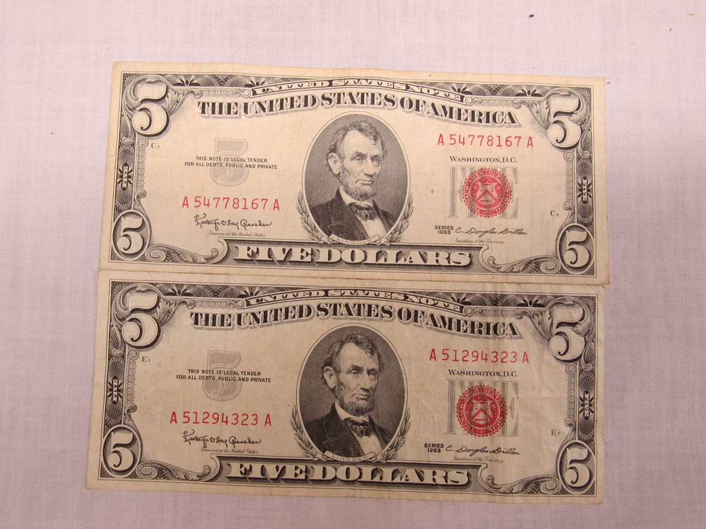 Lot # 133  2 Five Dollar RED Seal notes (main image)