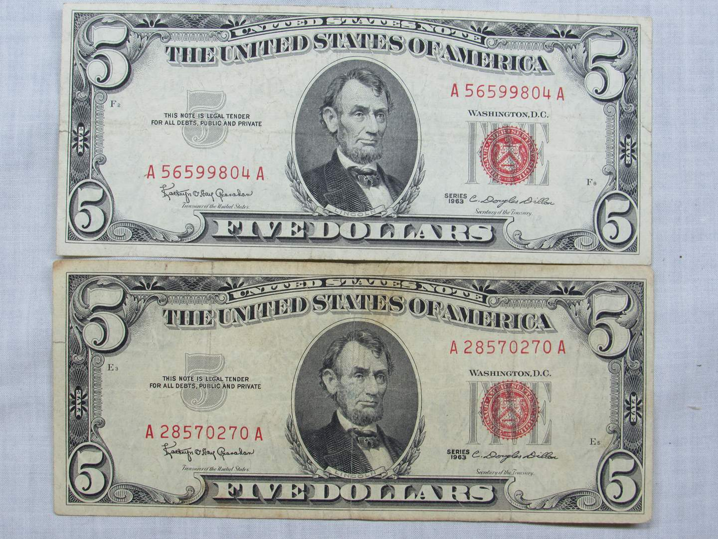 Lot # 135  2 Five Dollar RED Seal notes (main image)