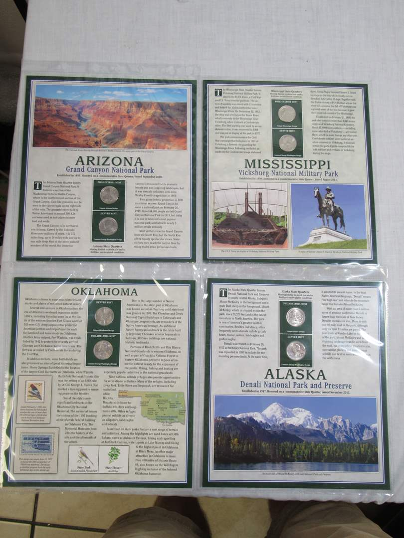 Lot # 149  Grouping of State Quarters with State Stamps (main image)
