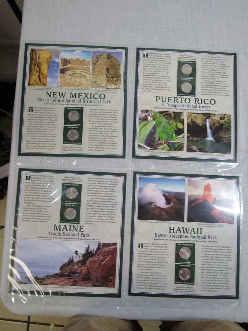 Lot # 150  Grouping of State Quarters with State Stamps (main image)