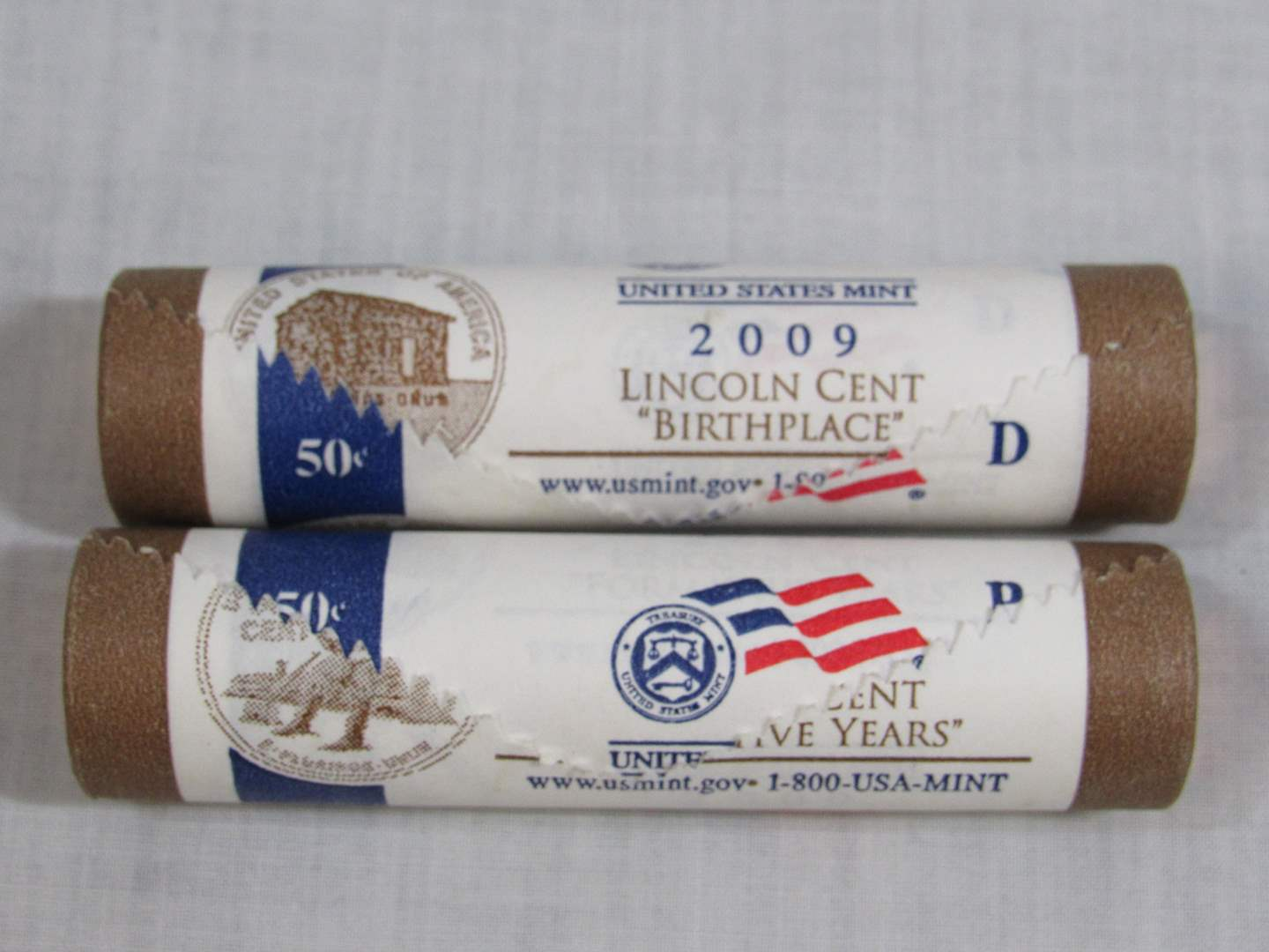 Lot # 155  Two rolls Lincoln Birthplace 2009 P-&D (main image)