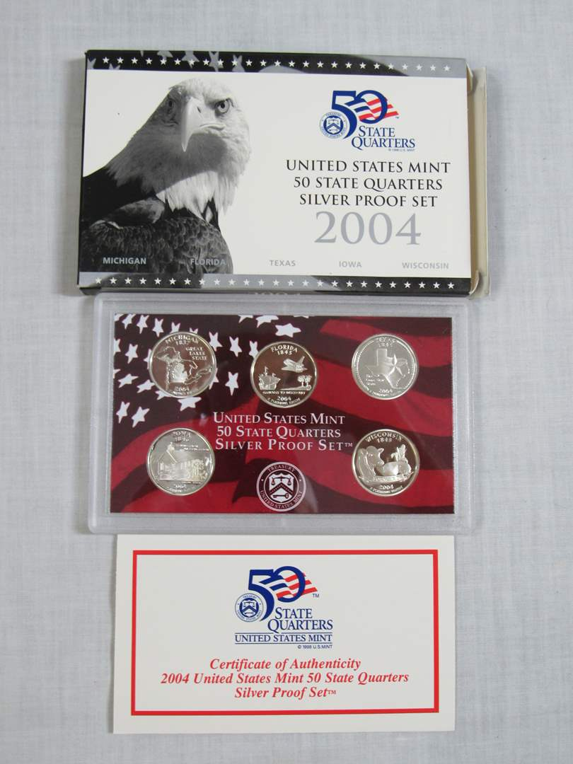 Lot # 157  2004 United States SILVER 90% PROOF Quarters (every coin is 90% SILVER) (main image)