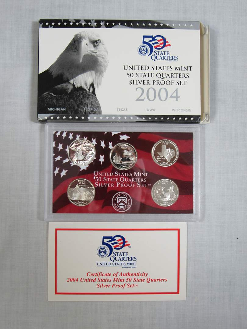 Lot # 159  2004 United States SILVER 90% PROOF Quarters (every coin is 90% SILVER) (main image)