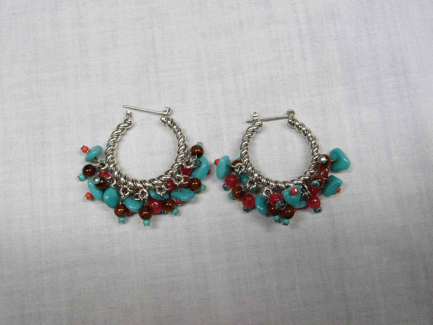 Lot # 186 Great Sterling Silver & Turquoise? & red stone earrings (main image)