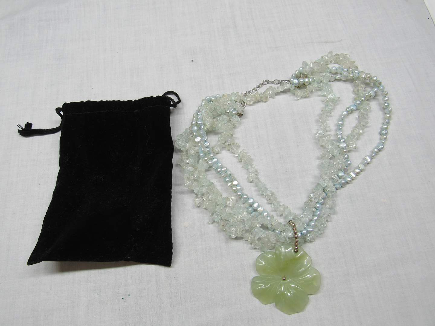 Lot # 189  Designer Green carved stone & pearl necklace (sterling clasp) (main image)
