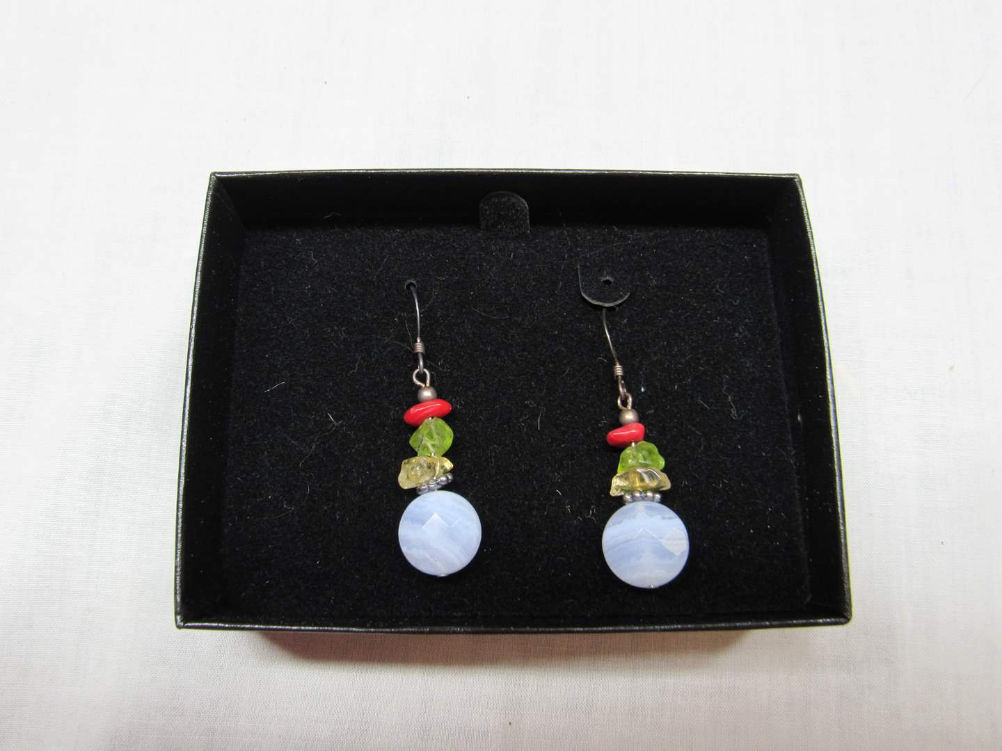 Lot # 198  Multi colored stone & sterling silver earrings (main image)