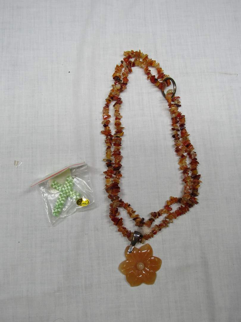 Lot # 202  Designer carved amber(colored) stones with sterling silver (main image)