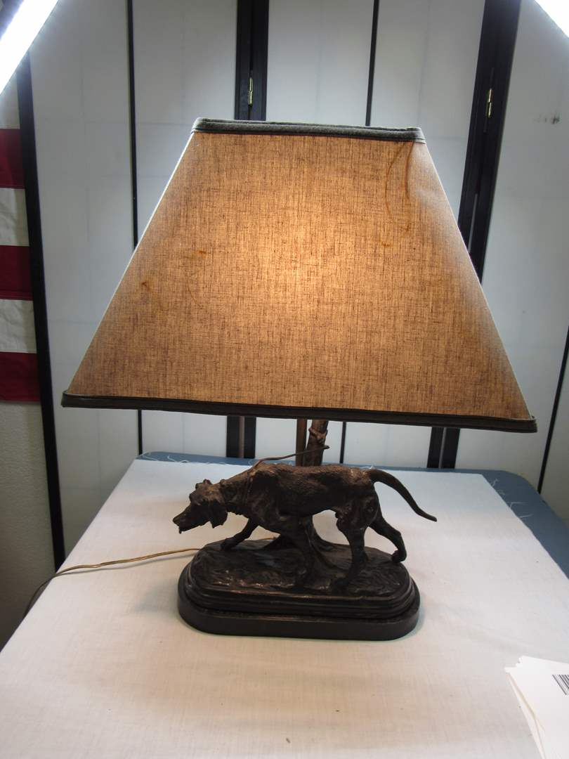 Lot # 12  Vintage HEAVY Bronze hunting table lamp (look closely at the pictures this lamp is AMAZING) (main image)
