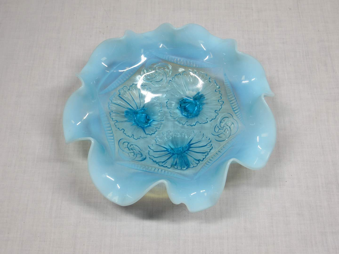 Lot # 13  Blue Opalescent ruffled blue dish Northwood's Jefferson Blue Opalescent Ruffles And Rings (main image)