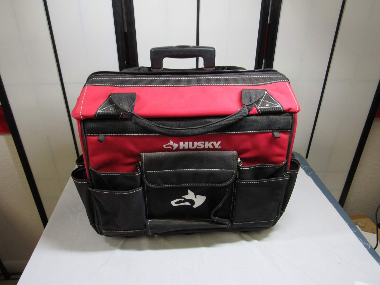 Lot # 38  GREAT heavy duty Husky tool/utility bag with wheels (main image)