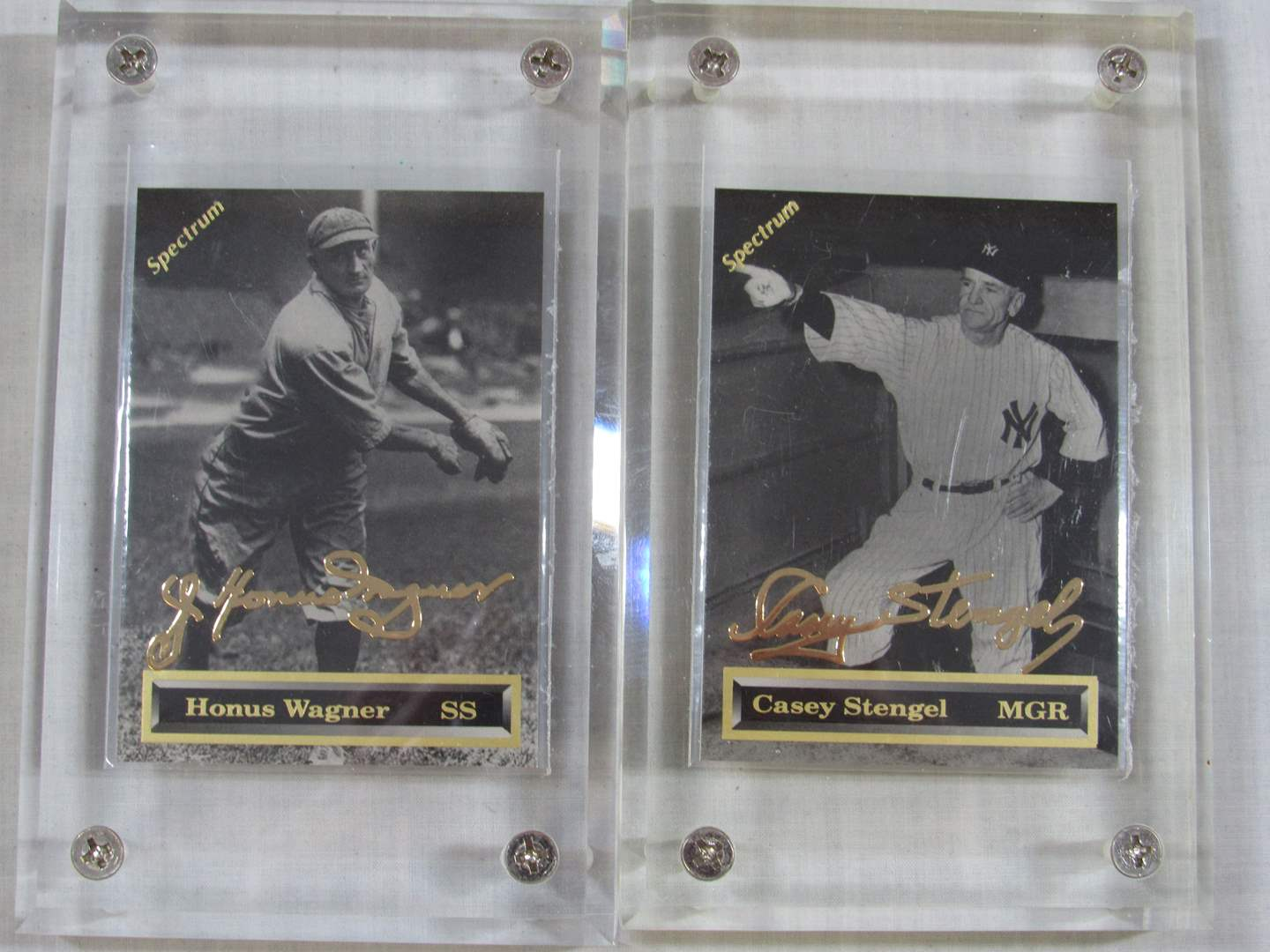 Lot # 45  2 Great Gold series collector sports cards in Ice Block Cases (main image)