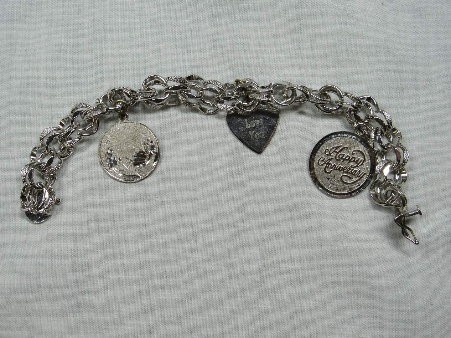 Lot # 205  High End Sterling Silver charm bracelet w/charms (main image)