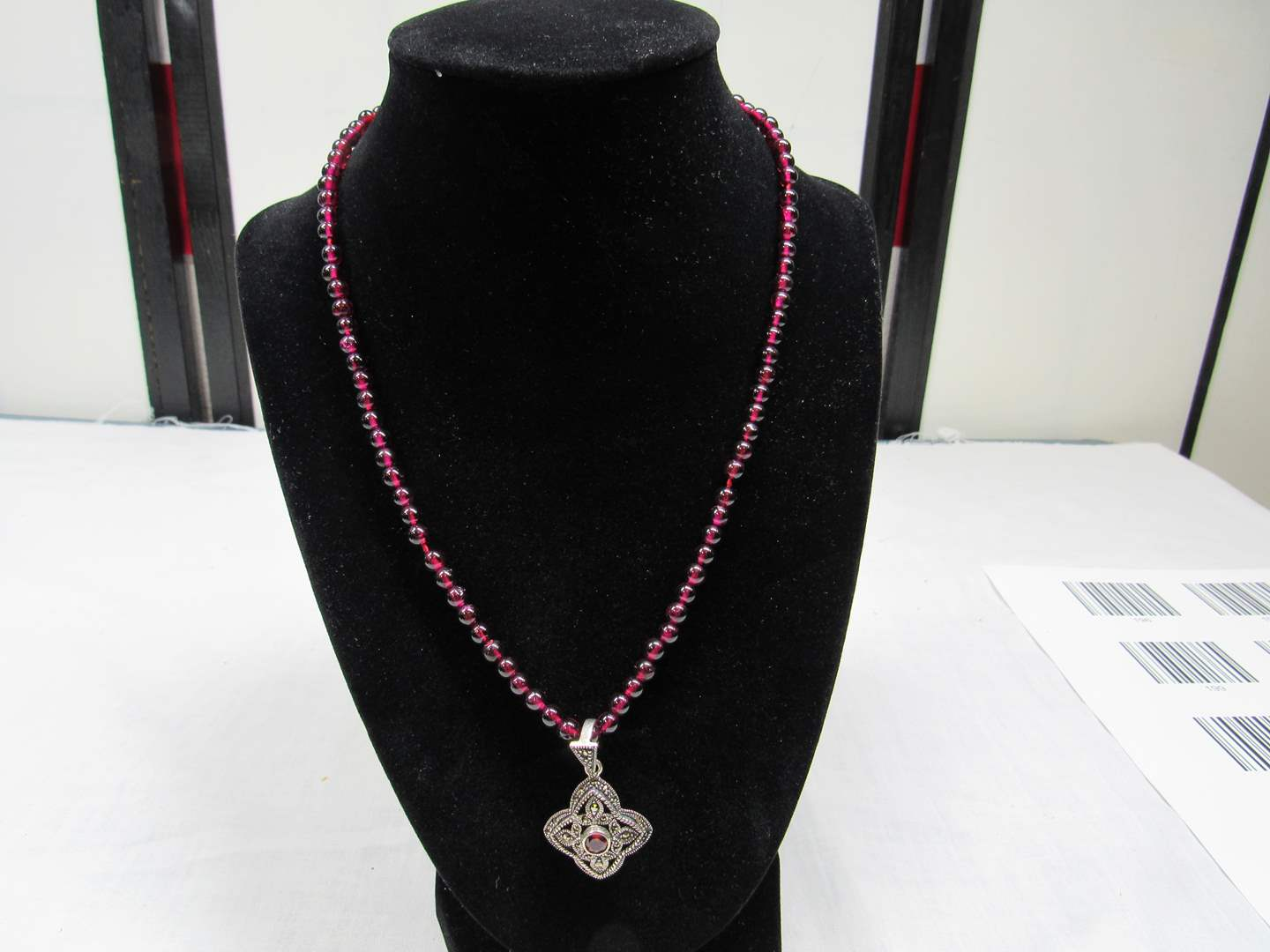 """Lot # 206  AMAZING 17"""" deep red stone necklace with great sterling silver pendant with red stone (main image)"""
