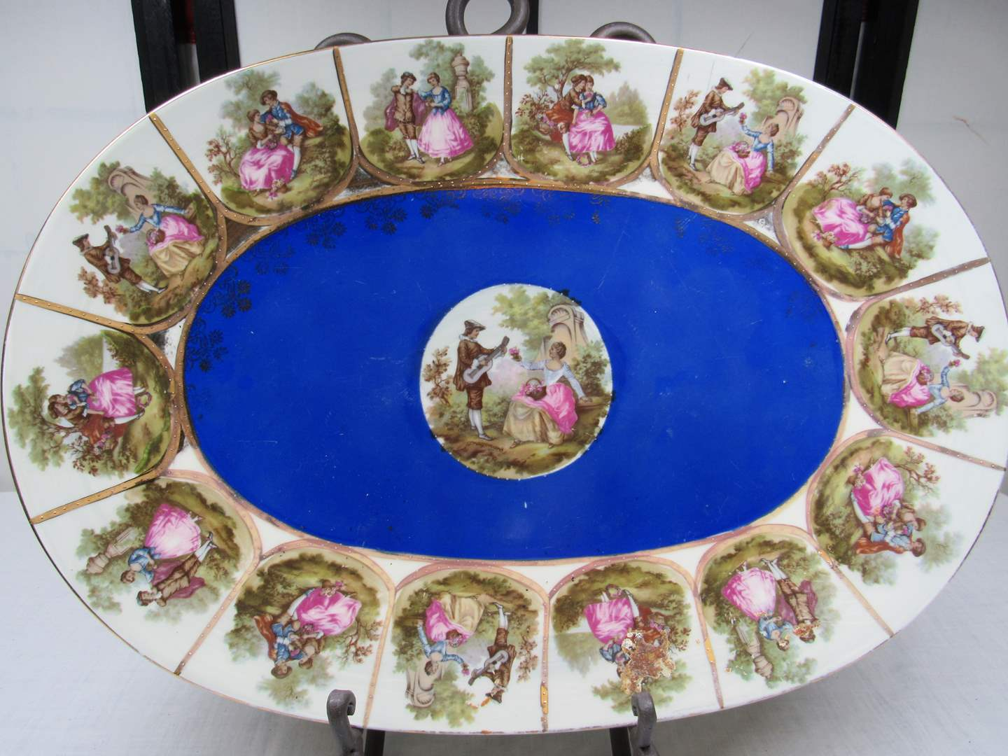Lot # 243  Large hand painted platter (does have small chip) (main image)