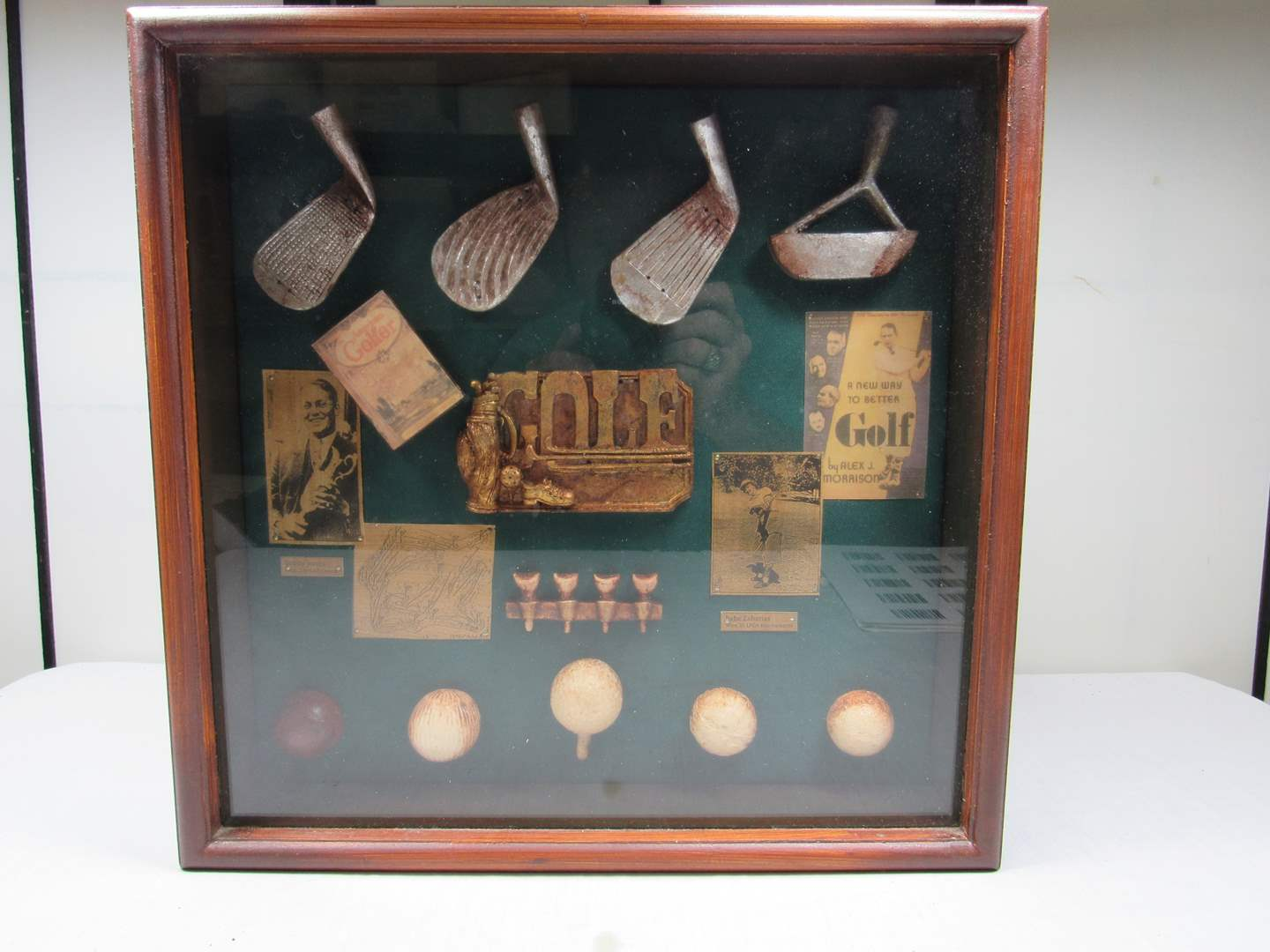 Lot # 246  Nice shadow box golf display (main image)