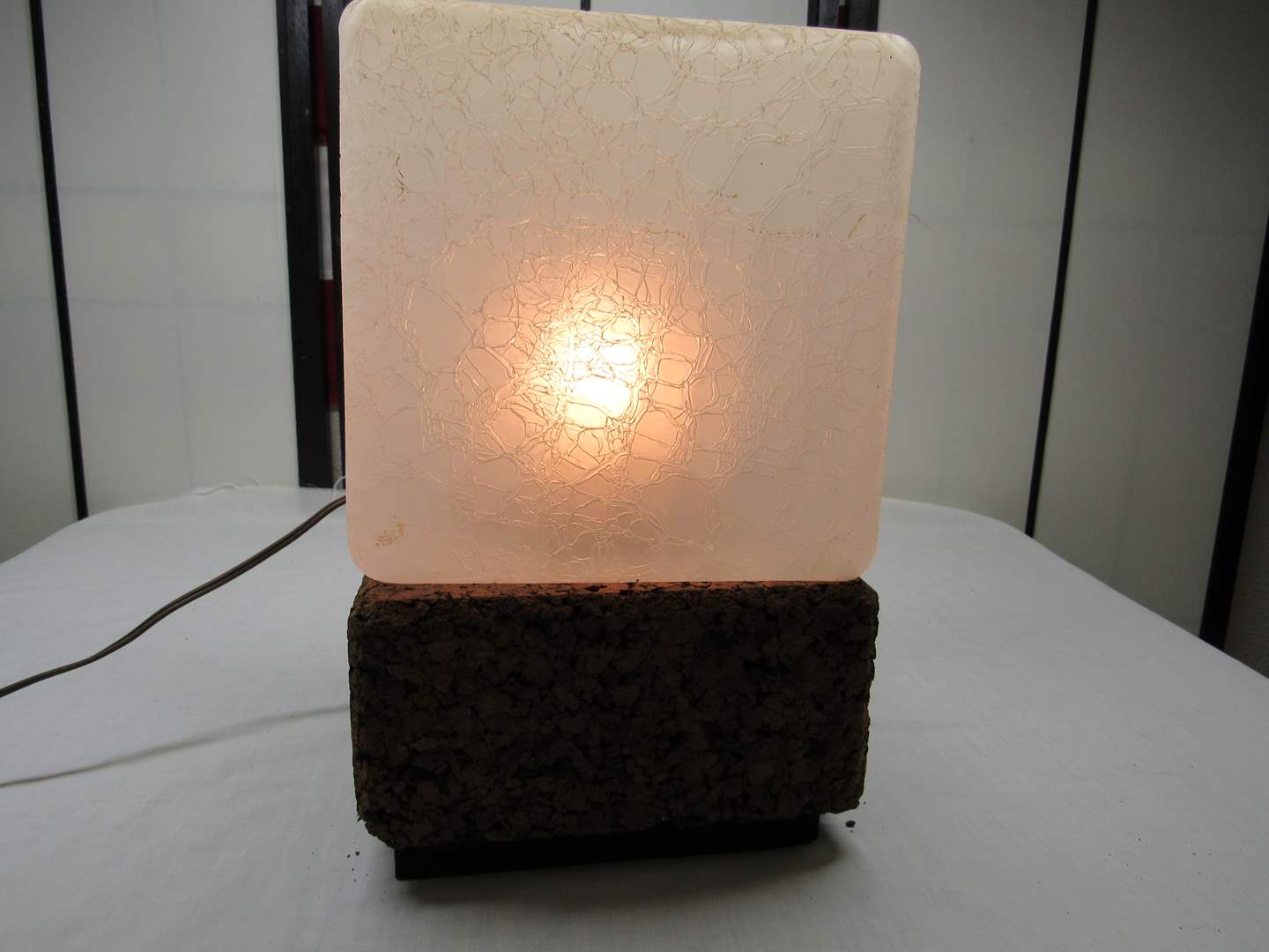 Lot # 254  Great Cork and glass Mid Century Modern table lamp (main image)