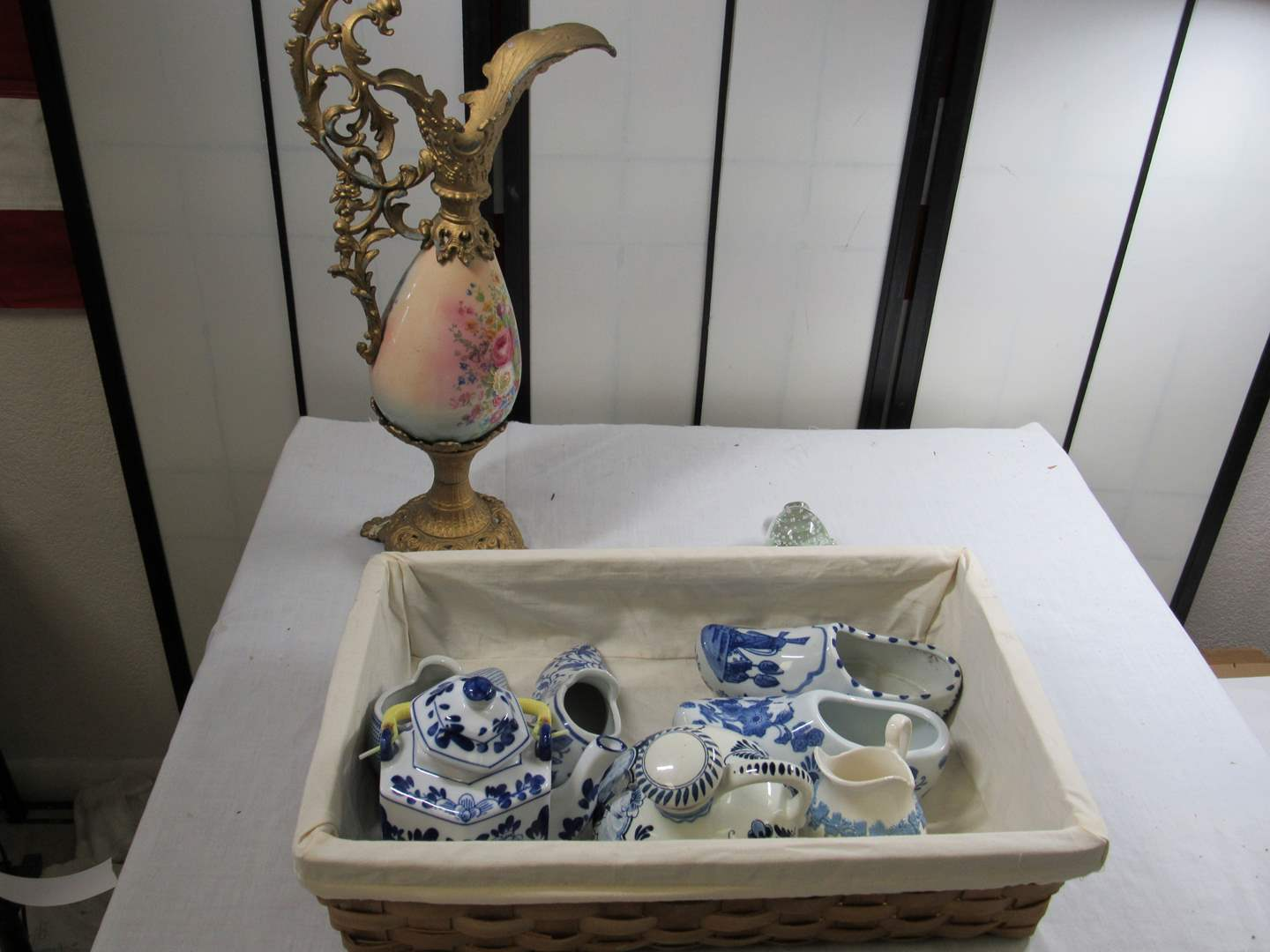 Lot # 278  Grouping of blue & white porcelain + antique ewer and wicker basket (main image)