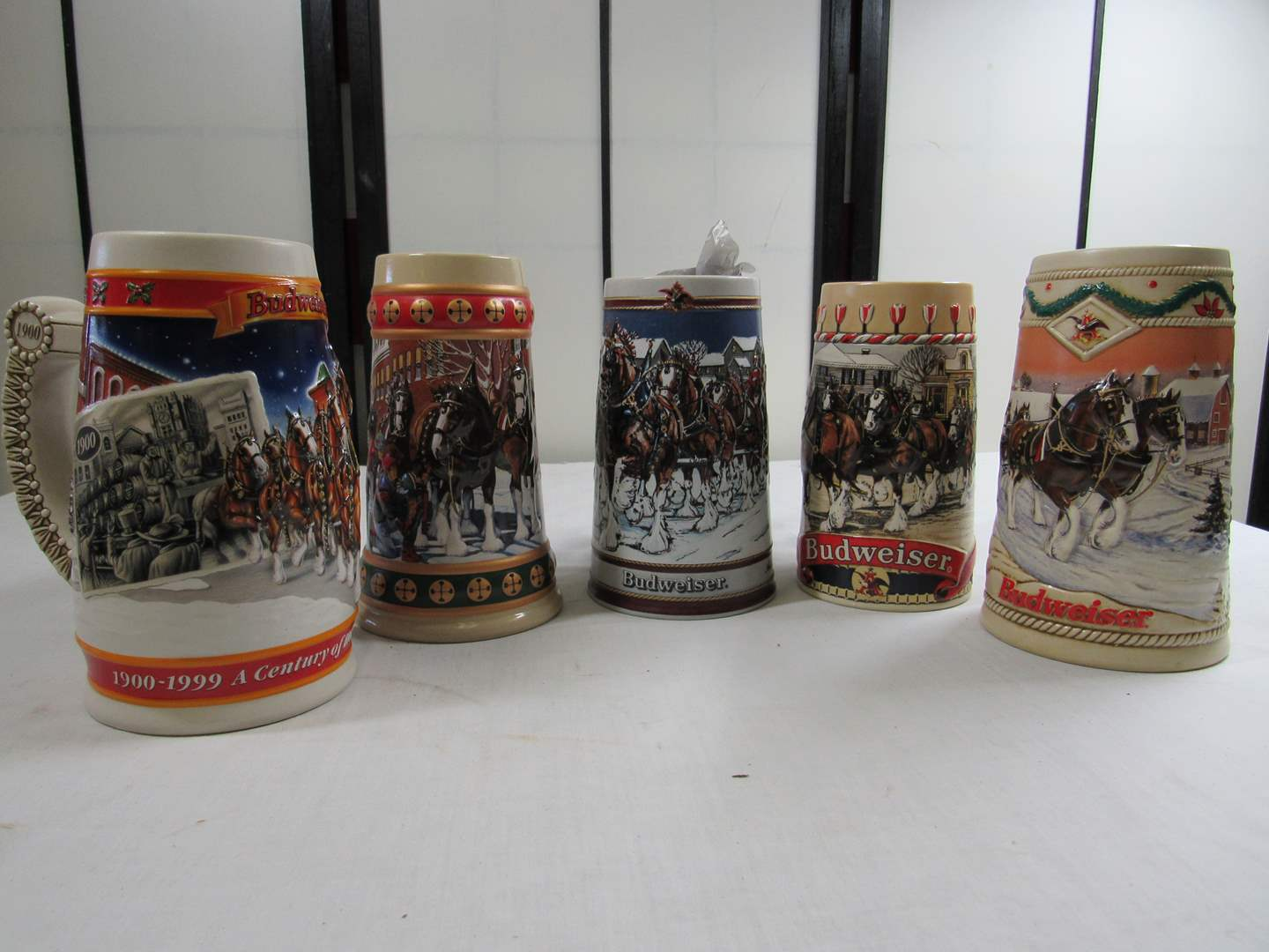 Lot # 286  Nice grouping of 5 Budweiser steins (main image)