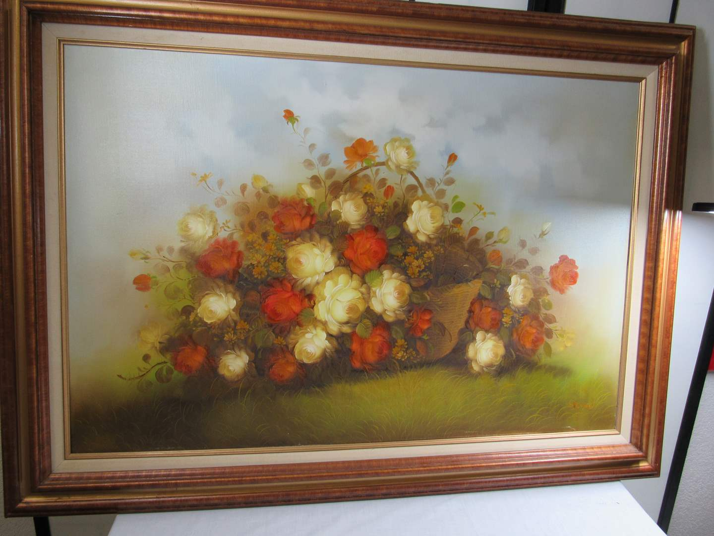 Lot # 297  Beautiful vintage LARGE floral hand painted painting (main image)