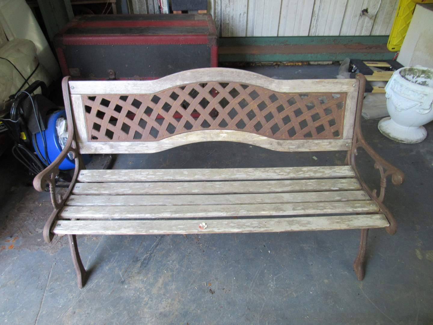Lot # 52  Heavy garden bench (will need a good cleaning and painting) the center back is wrought iron (very heavy) (main image)