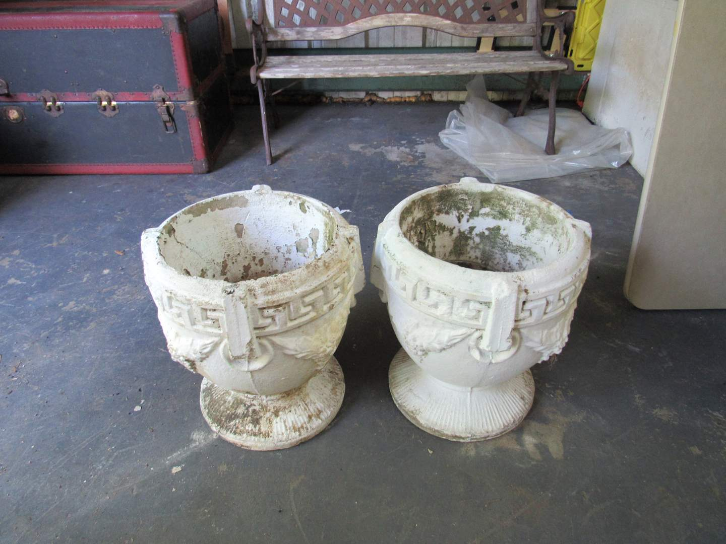 Lot # 53  Pair VERY HEAVY garden planters (about 60# each) (main image)