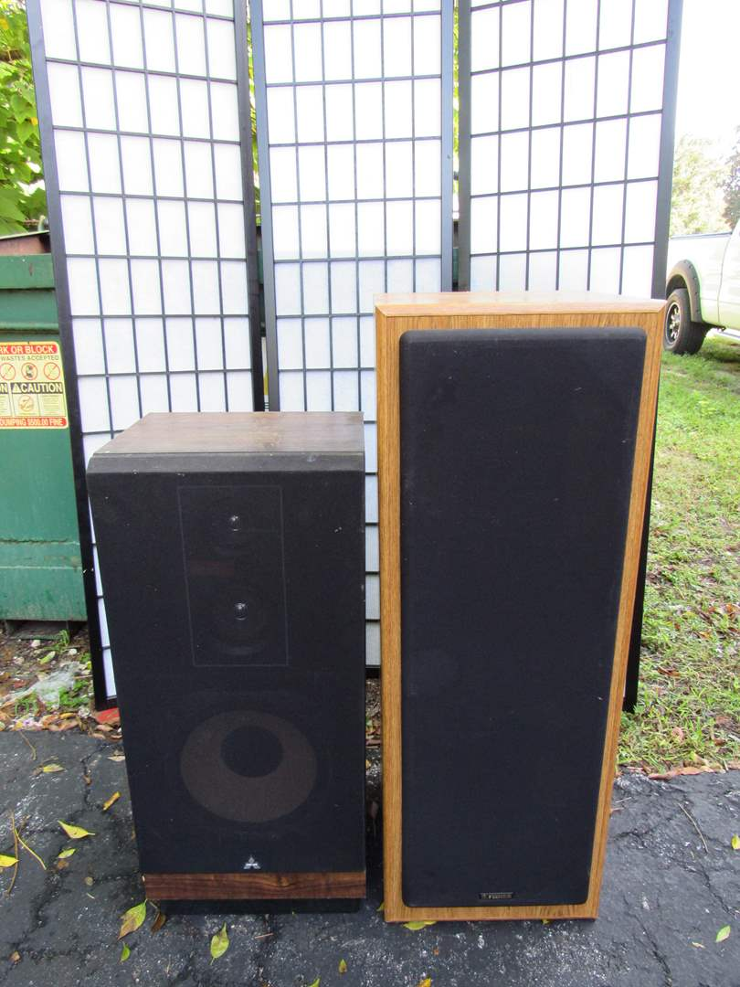 Lot # 56  2 vintage stand up speakers (main image)