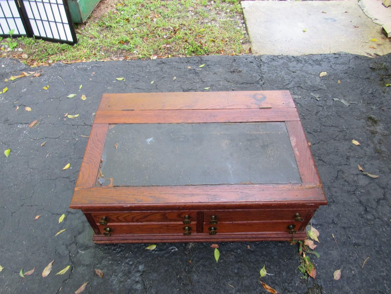 Lot # 63  Awesome antique oak Teachers Desk (appears all original) (main image)