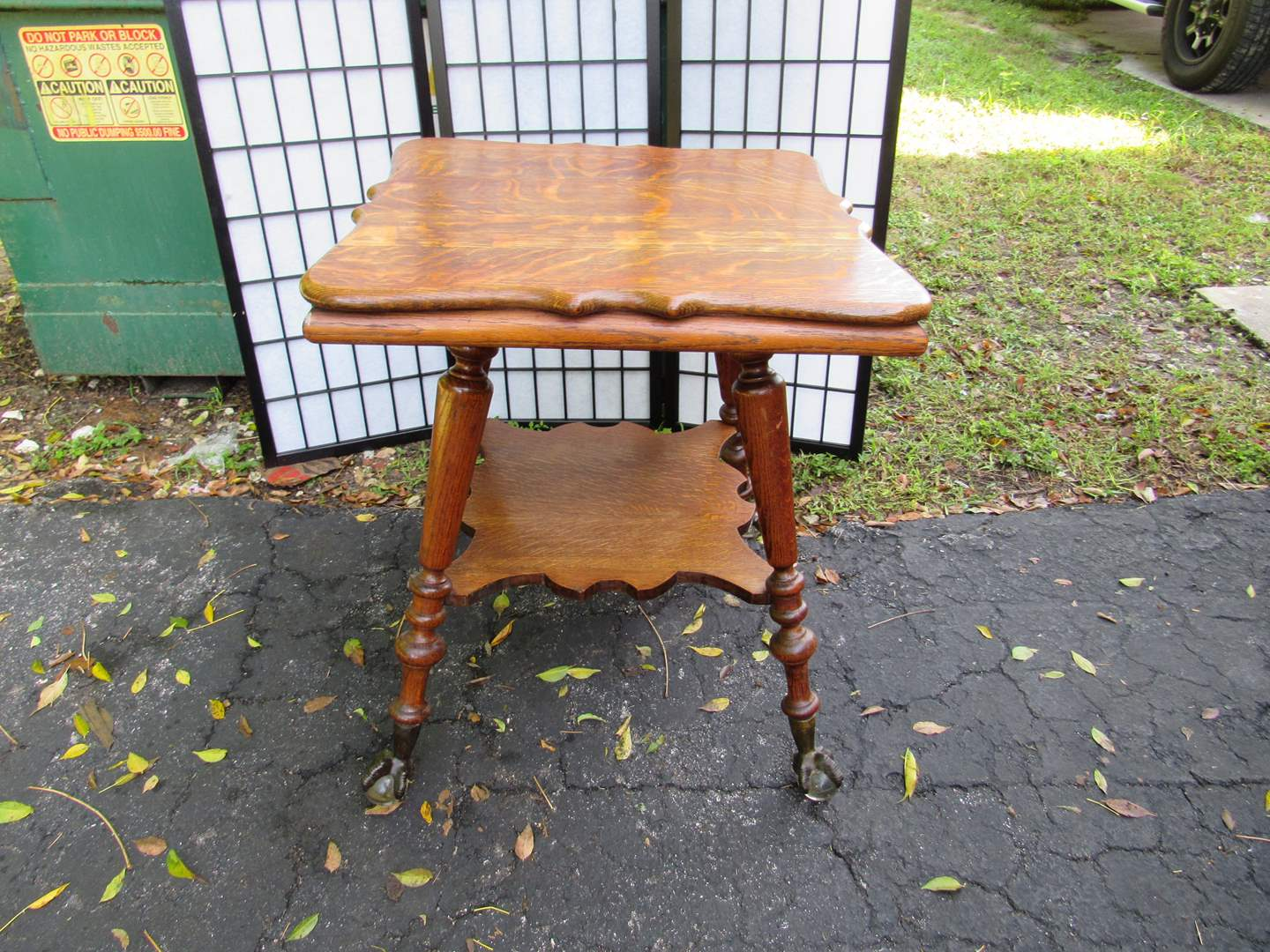 Lot # 67  SUPER nice quartered oak occasional table with INCREDIBLE glass & Metal ball feet (VERY SOLID & HEAVY) (main image)