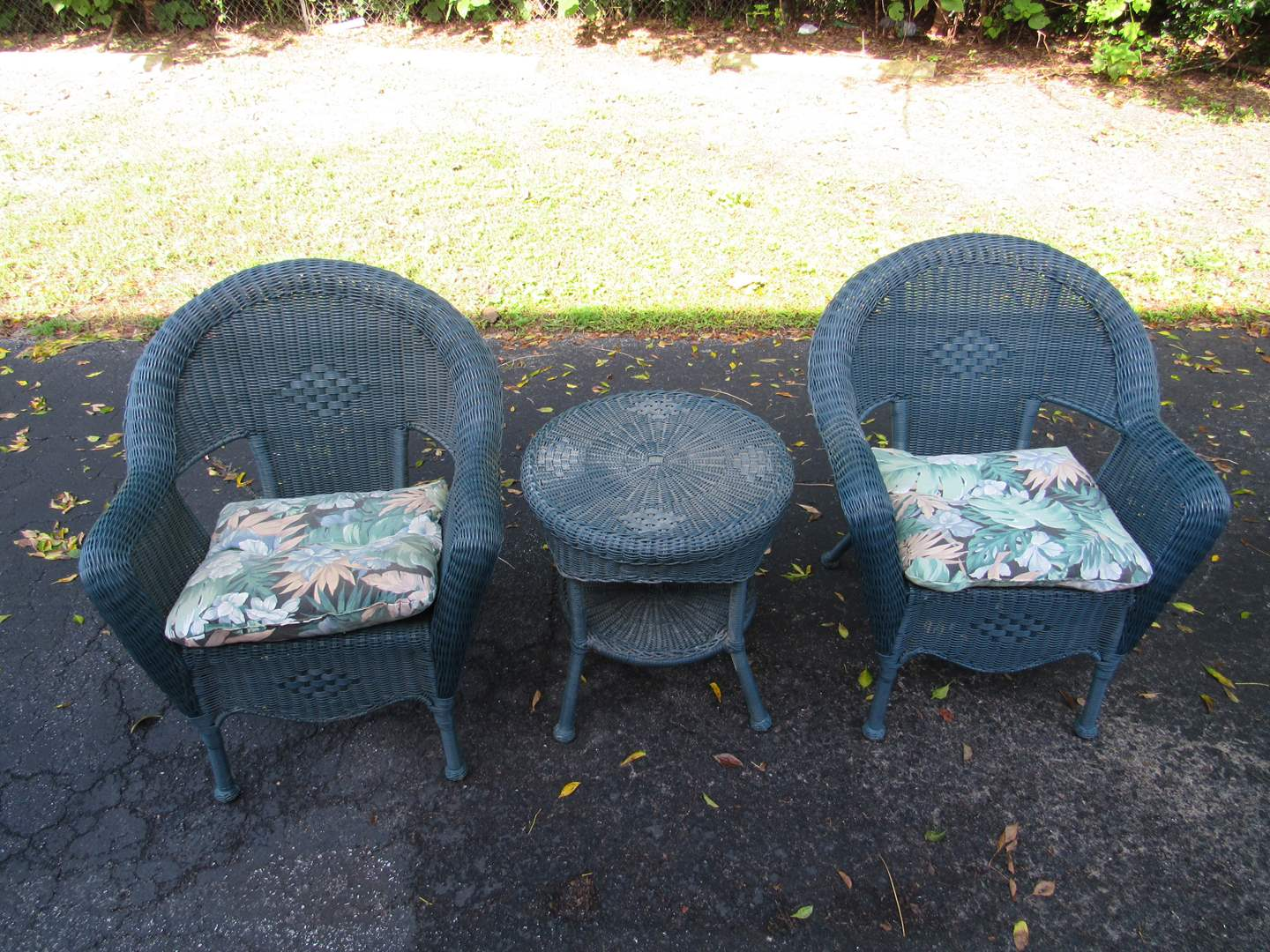 Lot # 70  Great pair side tables and chair RESIN wicker with cushion (SOLID & heavy) needs cleaning (main image)