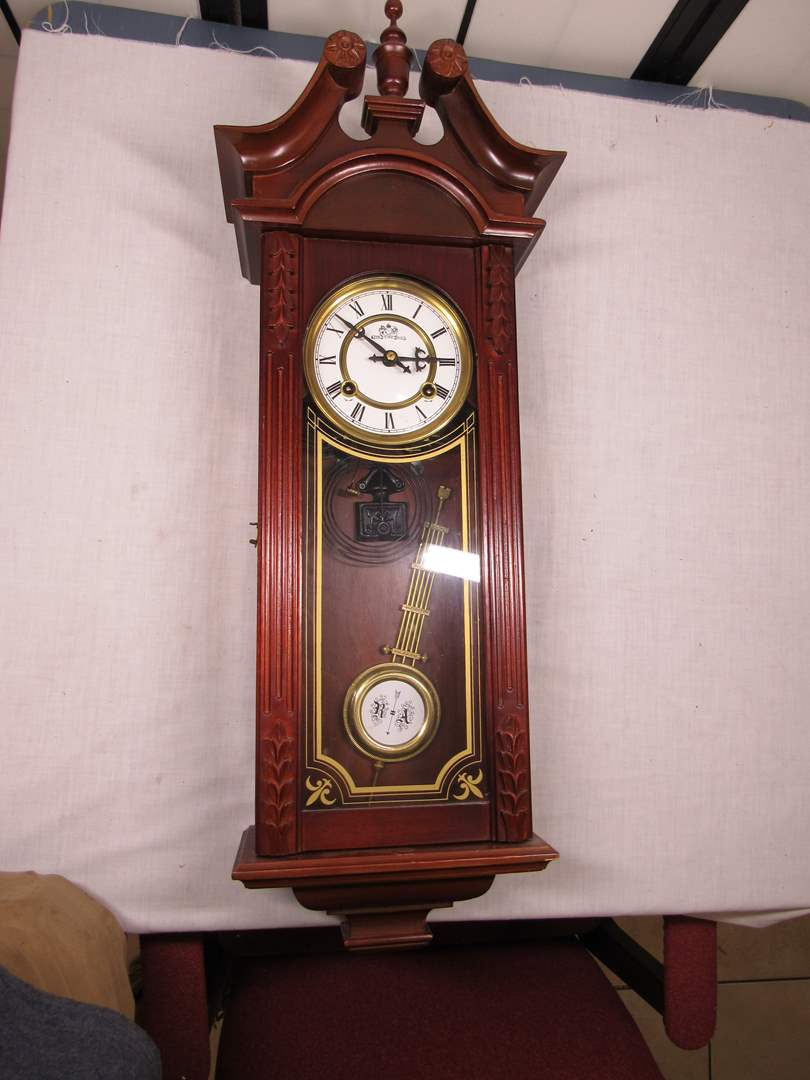 """Lot # 73  GREAT large antique style mahogany wall clock 34"""" (working all the way) (main image)"""
