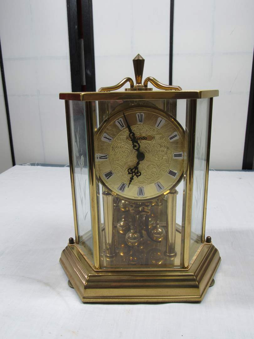 Lot # 74  Great West Germany Brass & Glass Anniversary Clock (working) (needs a good cleaning) (main image)