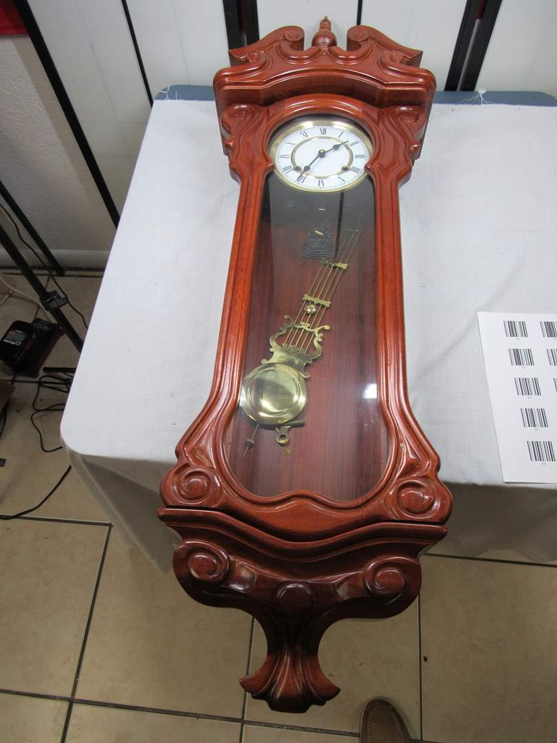 """Lot # 77 Large 46"""" antique style clock (working) will come with universal key (main image)"""