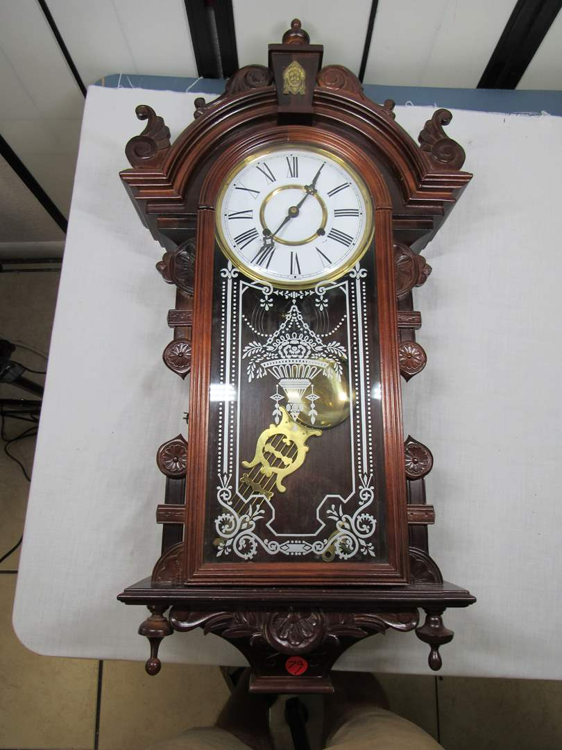 """Lot # 79 Awesome Mahogany antique style wall clock 38"""" (missing finial on bottom) (main image)"""