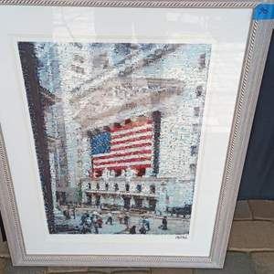 """Auction Thumbnail for: Lot # 90 American Flag Print 40"""" x 32"""".  Framed, Matted, Signed and # 750 of 850.   Unable to ID Artist"""