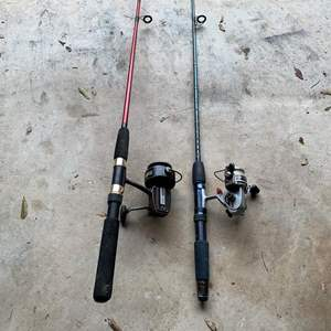 Auction Thumbnail for: Lot # 201 Two Daiwa Working Reels With Fishing Rods.