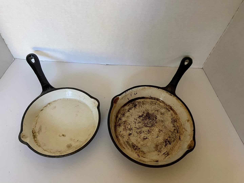 Lot # 8 (2) Enameled Cast Iron Pans