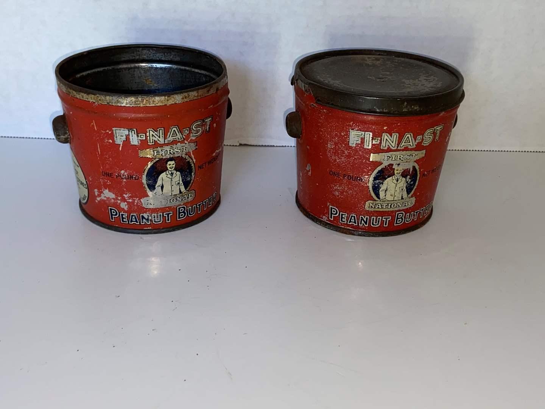 Lot # 14 (2) Vtg Peanut Butter Advertising Tin Pail, FI-NA-ST (missing handles & 1 lid)